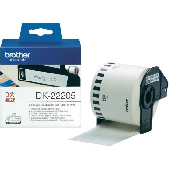 Banda continua hartie Brother DK22205, 62mm, 30.48m